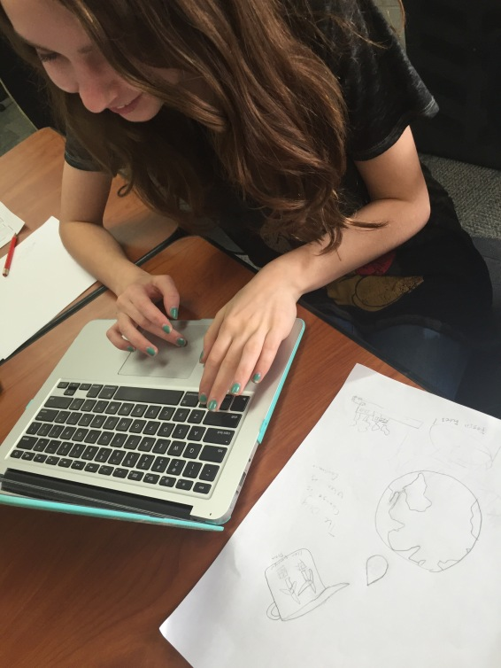 Elizabeth Fullwood working from her rough sketch to Digital Political Art